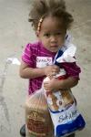 Hungry little homeless girl